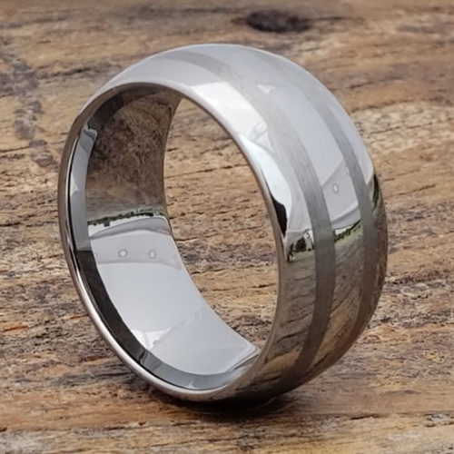 Corona Brushed Double Inlay Rings