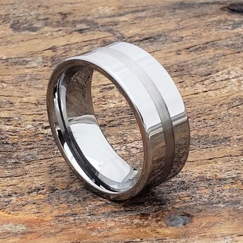 Horizon Flat Pipe Cut Inlay Rings