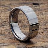 beveled horizontal womens tungsten rings