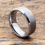cross brushed tungsten wedding bands